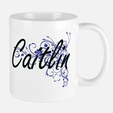 Caitlin Artistic Name Design with Flowers Mugs
