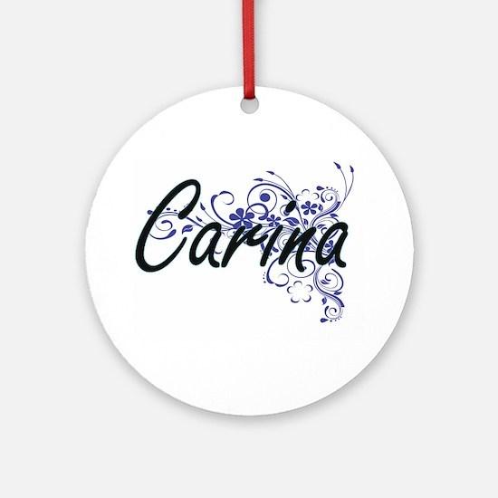 Carina Artistic Name Design with Fl Round Ornament