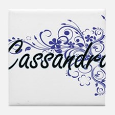 Cassandra Artistic Name Design with F Tile Coaster