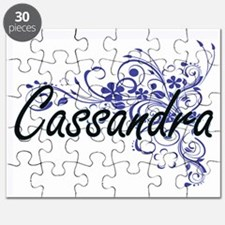 Cassandra Artistic Name Design with Flowers Puzzle
