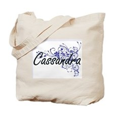 Cassandra Artistic Name Design with Flowe Tote Bag