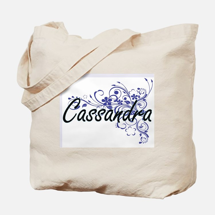 Cassandra Artistic Name Design with Flowe Tote Bag