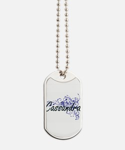 Cassandra Artistic Name Design with Flowe Dog Tags
