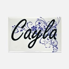Cayla Artistic Name Design with Flowers Magnets