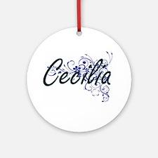 Cecilia Artistic Name Design with F Round Ornament