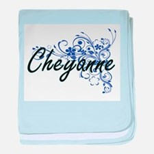 Cheyanne Artistic Name Design with Fl baby blanket