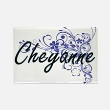 Cheyanne Artistic Name Design with Flowers Magnets