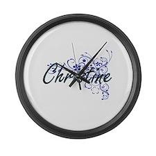 Christine Artistic Name Design wi Large Wall Clock