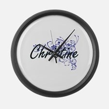 Christine Artistic Name Design wi Large Wall Clock