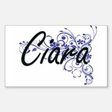 Ciara Artistic Name Design with Flowers Decal