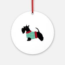 Scottie In Sweater Round Ornament