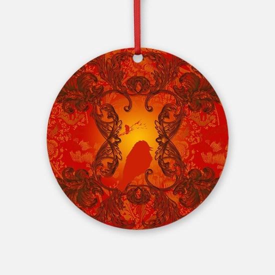 Beautiful red bird silhouette Round Ornament