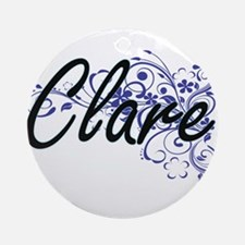 Clare Artistic Name Design with Flo Round Ornament