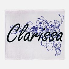 Clarissa Artistic Name Design with F Throw Blanket