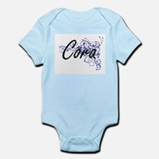 Cora Artistic Name Design with Flowers Body Suit