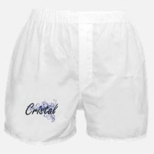 Cristal Artistic Name Design with Flo Boxer Shorts