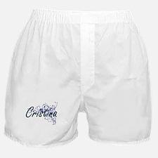 Cristina Artistic Name Design with Fl Boxer Shorts