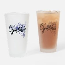 Cynthia Artistic Name Design with F Drinking Glass