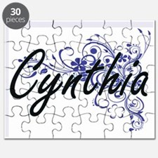 Cynthia Artistic Name Design with Flowers Puzzle