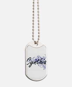 Cynthia Artistic Name Design with Flowers Dog Tags