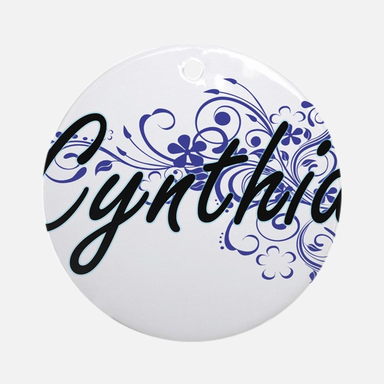 Cynthia Artistic Name Design with F Round Ornament