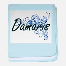 Damaris Artistic Name Design with Flo baby blanket