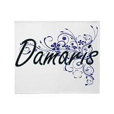 Damaris Artistic Name Design with Fl Throw Blanket