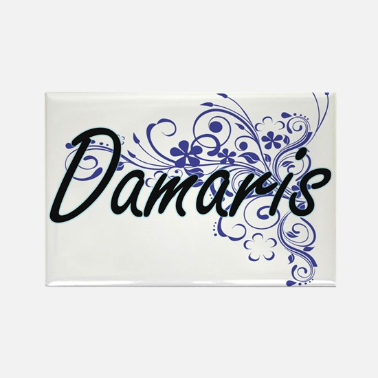 Damaris Artistic Name Design with Flowers Magnets