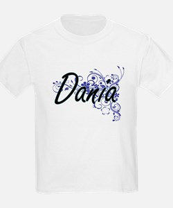 Dania Artistic Name Design with Flowers T-Shirt