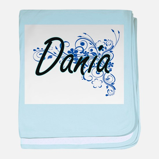 Dania Artistic Name Design with Flowe baby blanket
