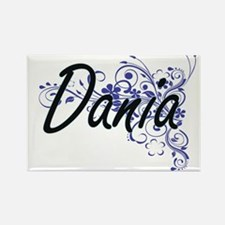 Dania Artistic Name Design with Flowers Magnets