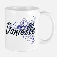 Danielle Artistic Name Design with Flowers Mugs