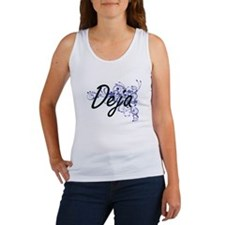 Deja Artistic Name Design with Flowers Tank Top