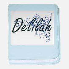 Delilah Artistic Name Design with Flo baby blanket