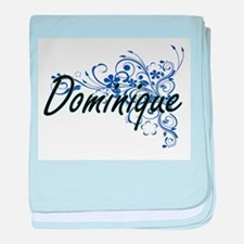 Dominique Artistic Name Design with F baby blanket