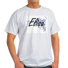 Elisa Artistic Name Design with Flowers T-Shirt