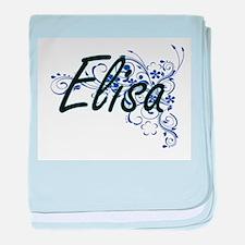 Elisa Artistic Name Design with Flowe baby blanket