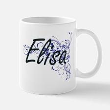 Elisa Artistic Name Design with Flowers Mugs