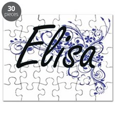 Elisa Artistic Name Design with Flowers Puzzle