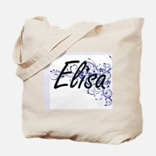 Elisa Artistic Name Design with Flowers Tote Bag