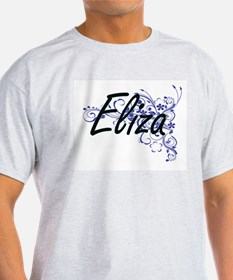 Eliza Artistic Name Design with Flowers T-Shirt