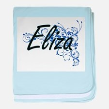 Eliza Artistic Name Design with Flowe baby blanket