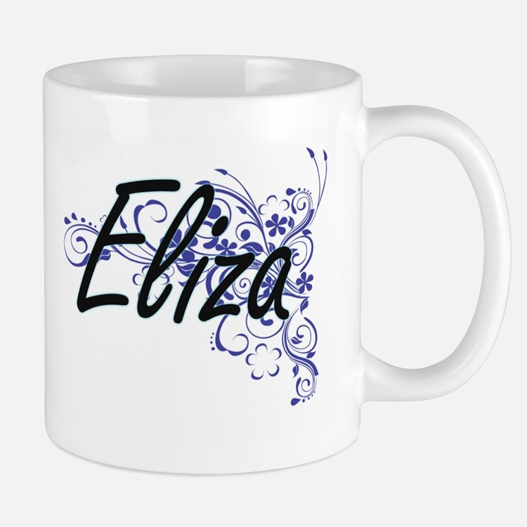 Eliza Artistic Name Design with Flowers Mugs