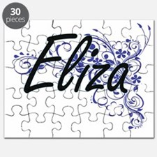 Eliza Artistic Name Design with Flowers Puzzle