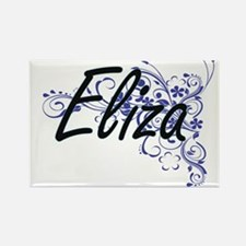Eliza Artistic Name Design with Flowers Magnets