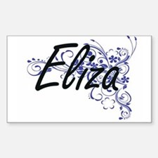 Eliza Artistic Name Design with Flowers Decal