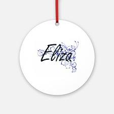 Eliza Artistic Name Design with Flo Round Ornament
