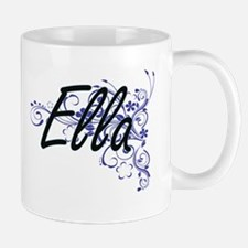 Ella Artistic Name Design with Flowers Mugs