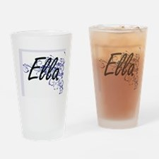 Ella Artistic Name Design with Flow Drinking Glass