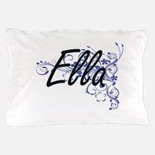 Ella Artistic Name Design with Flowers Pillow Case
